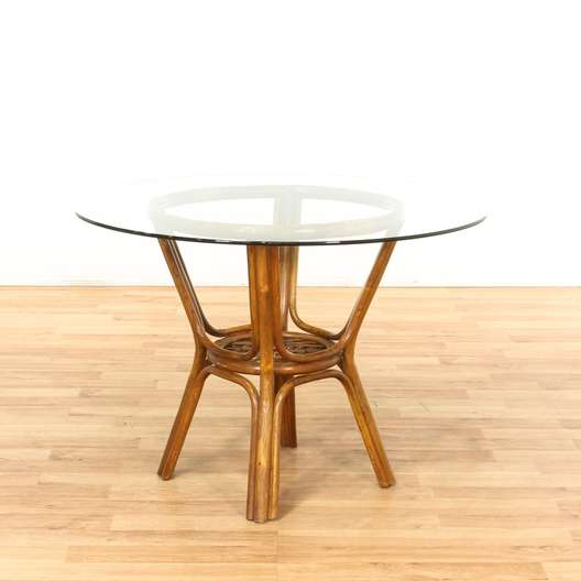 Round Bamboo Dining Table W Glass Top Loveseat Vintage