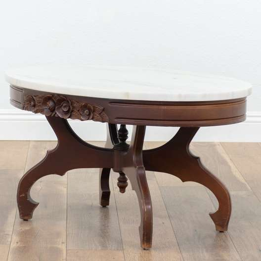 """Oval Coffee Table Mahogany: """"Victorian"""" Mahogany Oval Coffee Table With Marble Top"""