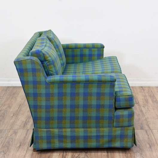Blue Amp Green Plaid Sofa 2 Loveseat Vintage Furniture San