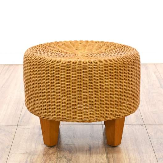 Prime Mid Century Modern Round Wicker Ottoman Loveseat Vintage Pabps2019 Chair Design Images Pabps2019Com
