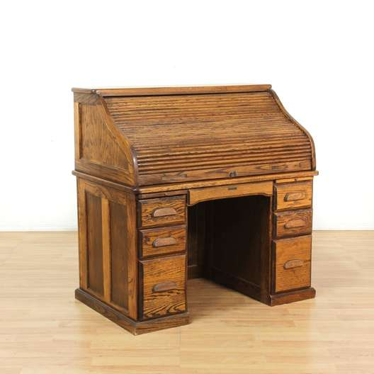 """The Barn Company"" 1950s Oak Roll Top Desk"