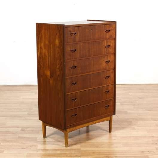 Tall danish modern teak 6 drawer dresser loveseat for Danish modern la