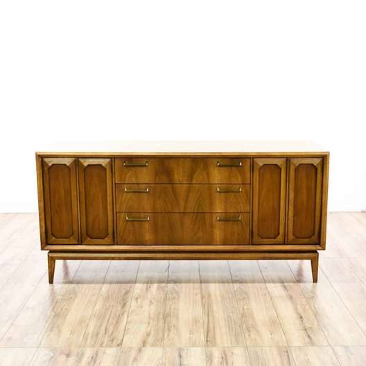 Broyhill Mid Century Modern Facet Buffet Credenza Loveseat Vintage Furniture San Diego