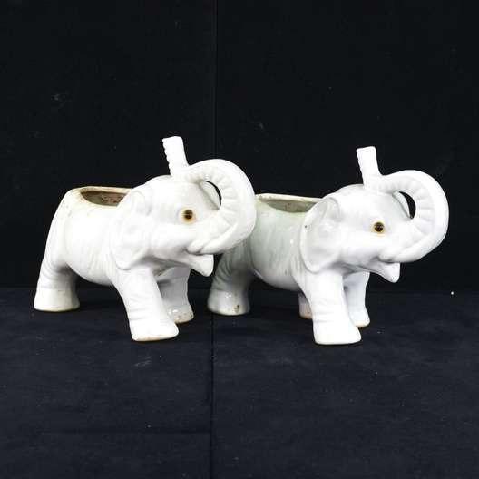 Pair Vintage Elephant Table Planters Loveseat Vintage