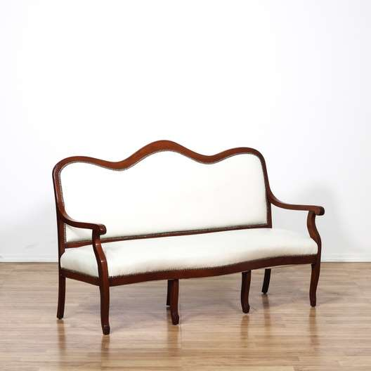 Leather Sofas In Los Angeles: Cherry Trim White Leather Settee Loveseat