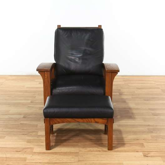 Astounding Mission Style Black Leather Chair W Ottoman Loveseat Dailytribune Chair Design For Home Dailytribuneorg
