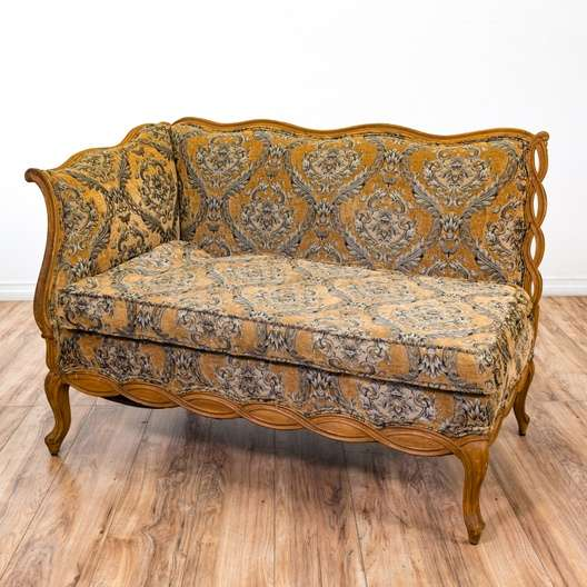 Gold Brocade Fainting Couch Sofa Loveseat Settee