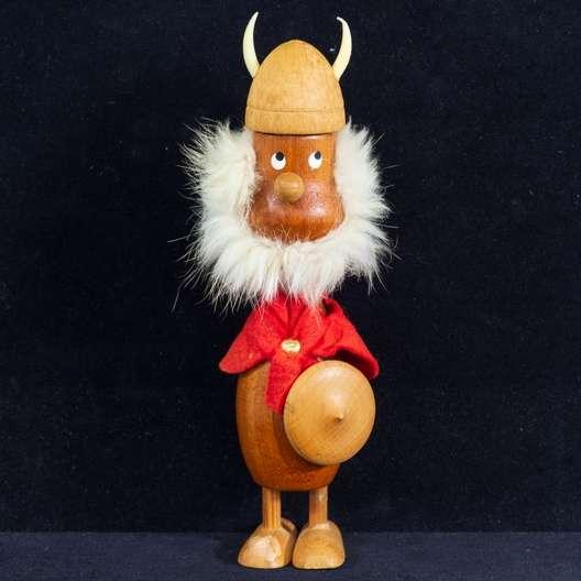 Wood Viking Figurine W Beard Loveseat Vintage Furniture San Diego