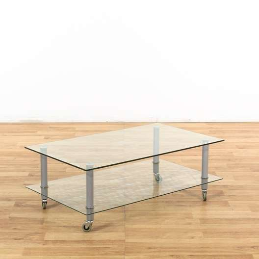 2 Tier Glass Coffee Table On Casters Loveseat Vintage Furniture Los