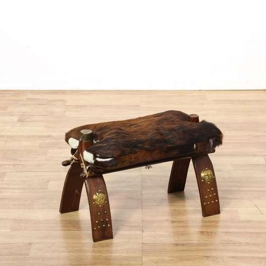 cow hide camel saddle stool loveseat vintage furniture los angeles. Black Bedroom Furniture Sets. Home Design Ideas