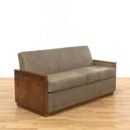 Wood Frame Leather Contemporary 2 Seater Sofa