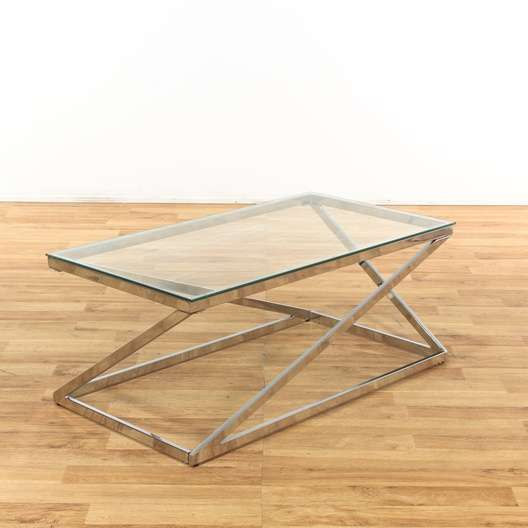 Gl Top W Chrome Base Accordion Coffee Table