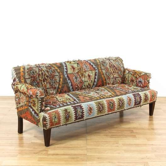 Multi Color Aztec Print Bohemian Sofa Couch Loveseat