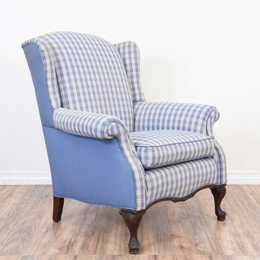Blue Plaid Wingback Armchair Loveseat Vintage Furniture San Diego