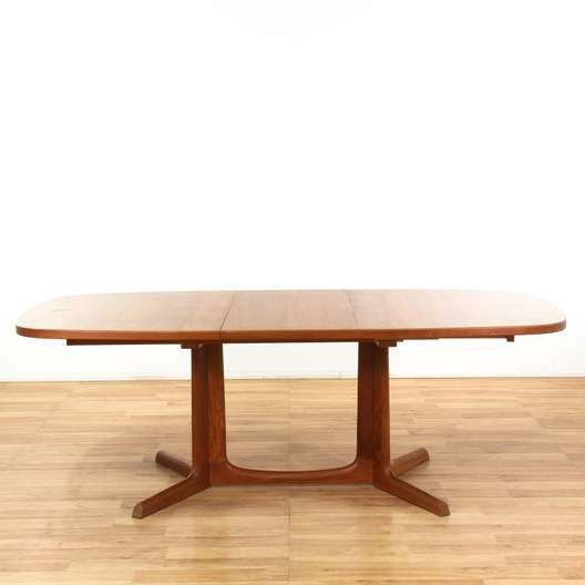 Danish Modern Dining Table W Leaf Loveseat Vintage Furniture Los - Danish modern dining table with leaves