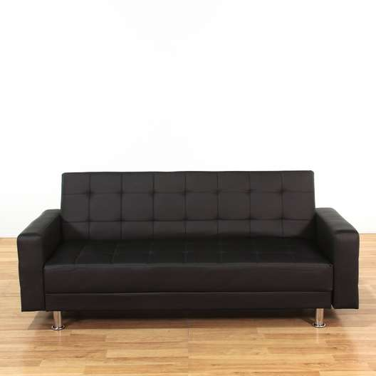 Awesome Wade Logan Spirit Lake Black Vinyl Sleeper Sofa Loveseat Dailytribune Chair Design For Home Dailytribuneorg