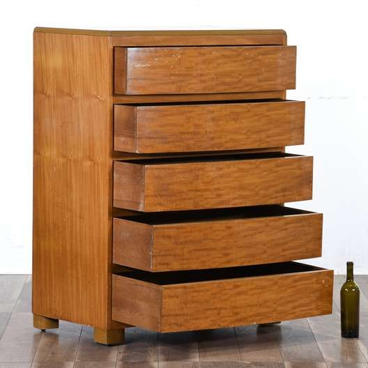 Mid Century Modern Solid Wood Tall Dresser Loveseat