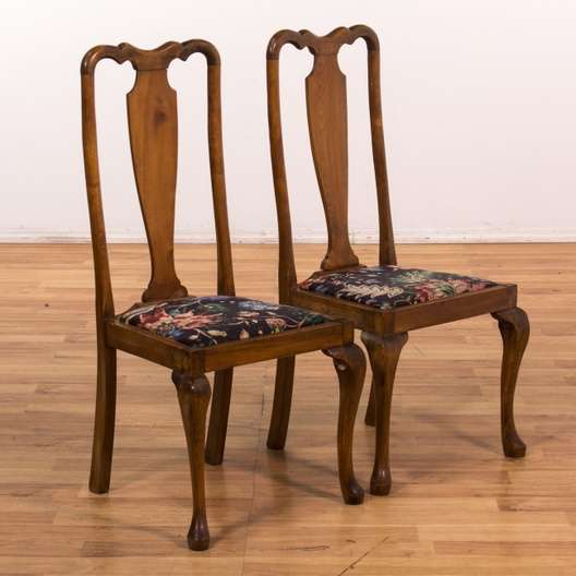 Outstanding Set Of 4 Cabriole Leg W Floral Print Dining Chairs Gamerscity Chair Design For Home Gamerscityorg