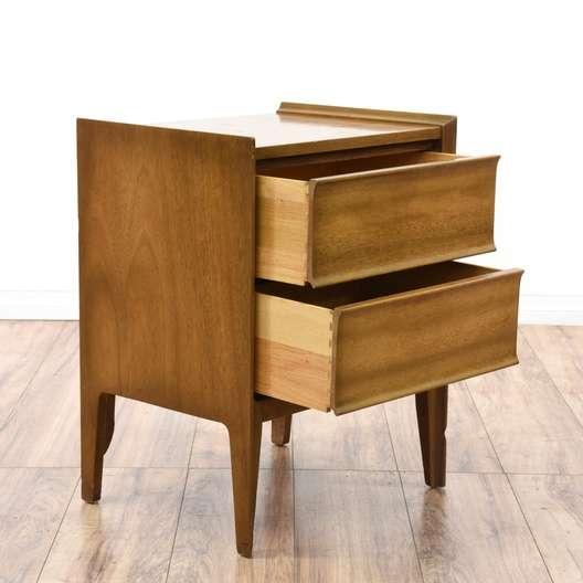 Mid Century Modern 2 Drawer Nightstand | Loveseat Vintage ...
