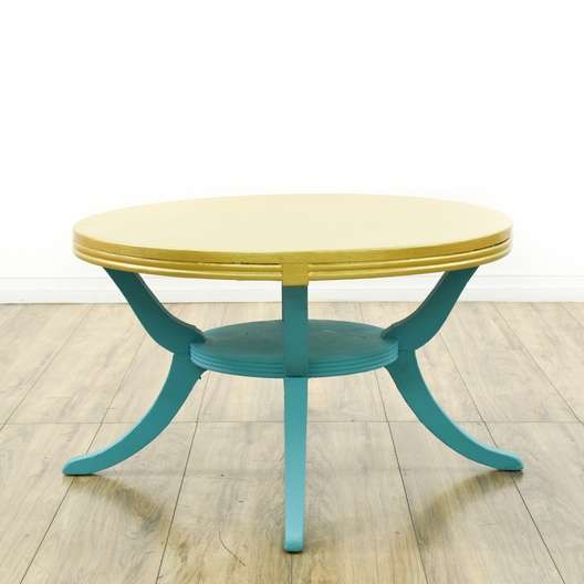 Shabby Chic Round Wood Coffee Table: Shabby Chic Teal & Cream Round Coffee Table