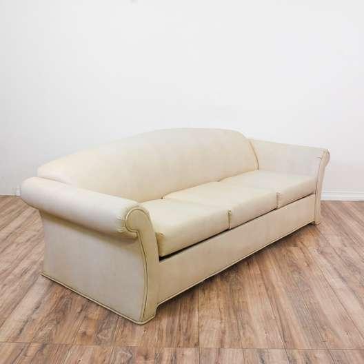 Off White Vinyl Curved Back Sleeper Sofa Loveseat