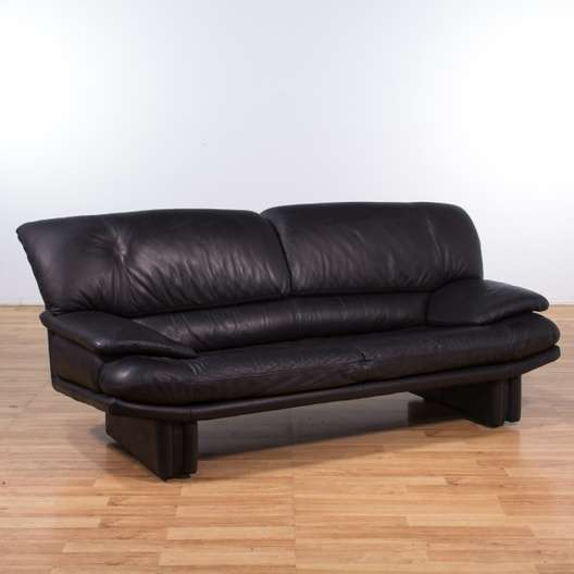 Contemporary Black Leather Sofa | Loveseat Vintage Furniture Los Angeles