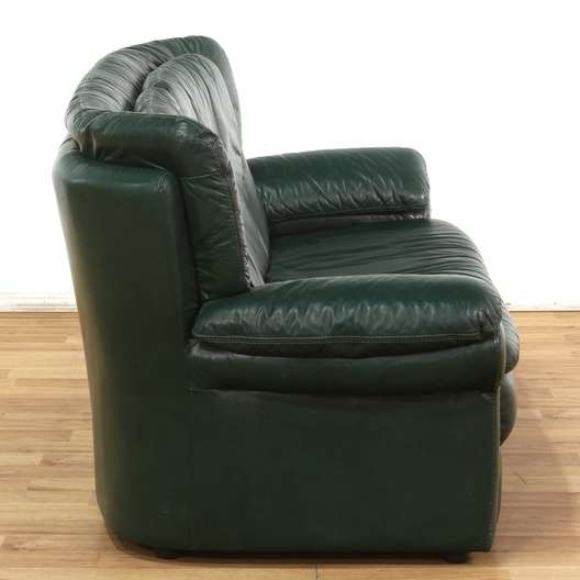 Oversized Dark Green Leather Sofa Loveseat Vintage Furniture Los