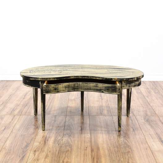 Shabby Chic Kidney Shaped Coffee Table W/ Drawer