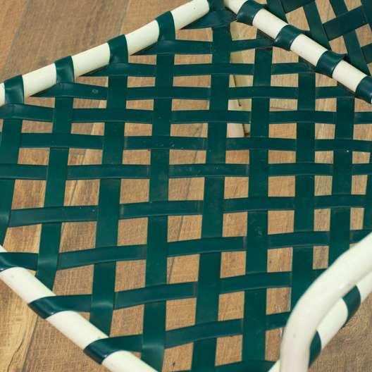 Set Of 4 Brown Jordan Style Patio Chairs W Green Straps