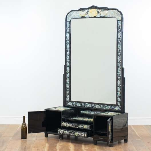 Asian Black Lacquer Vanity W Mirror Amp Inlay Loveseat
