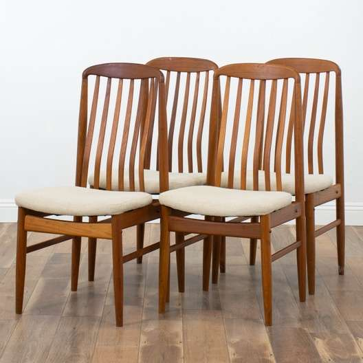 Set Of 4 Benny Linden Teak Danish Modern Dining Chairs Loveseat