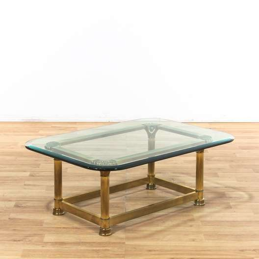 Vintage Brass Glass Coffee Table Loveseat Vintage Furniture