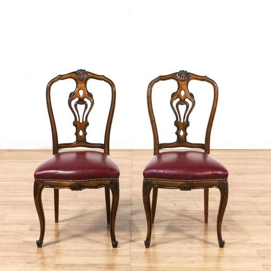 Pair Of Italian Renaissance Leather Side Chairs