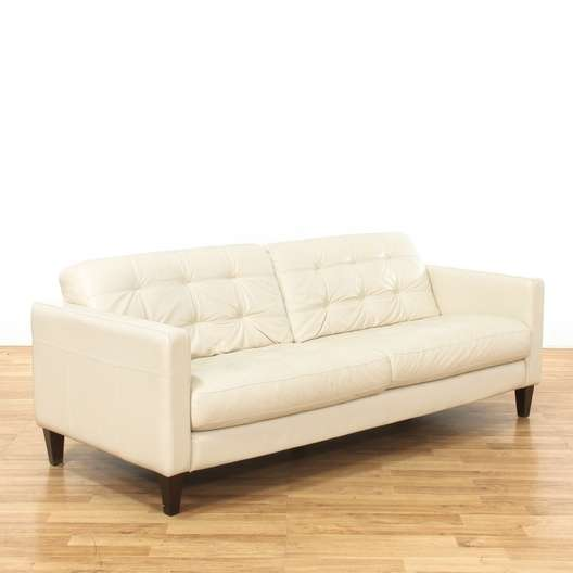 White Quilted Tufted Leather Sofa W Wood Legs Loveseat Vintage