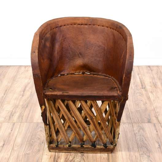 Mexican Equipale Woven Leather Barrel Chair Loveseat