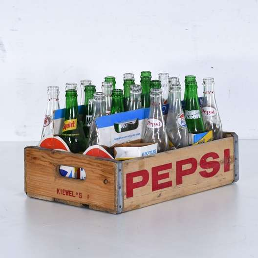 Vintage Pepsi Crate W Glass Soda Pop Bottles Loveseat