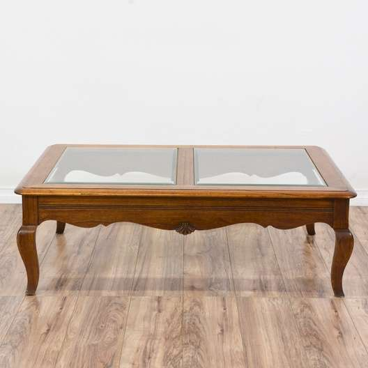 Carved Queen Anne Glass Top Coffee Table Loveseat Vintage Furniture San Diego