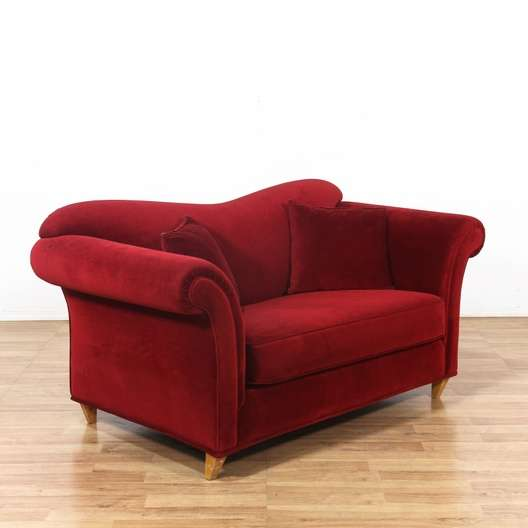 Red Curved Back Velvet Sofa Couch | Loveseat Vintage Furniture Los Angeles