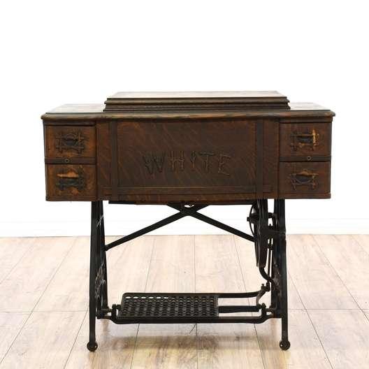 Early 1900s Tiger Oak White Sewing Machine Loveseat Vintage Furniture San Diego