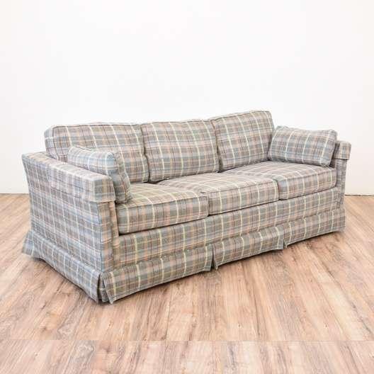 Retro Plaid Sleeper Sofa Loveseat Vintage Furniture San