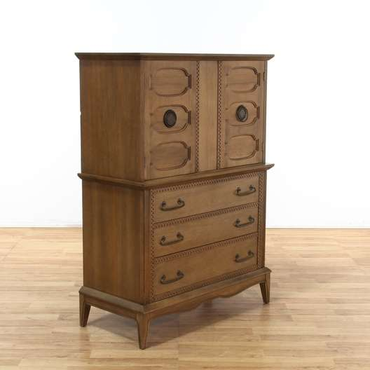 Asian 3 Drawer W Cabinet Tall Dresser Highboy