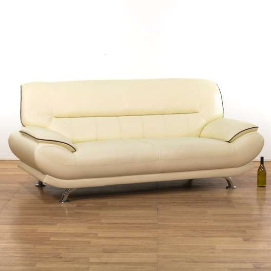 Cream Contemporary Leather Sofa W/ Chrome Legs | Loveseat.com Los Angeles