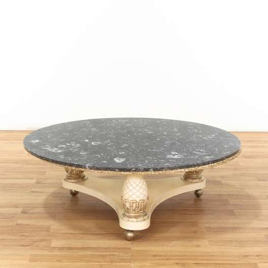 Fossil Black Marble Top Round Coffee Table On Casters Loveseat