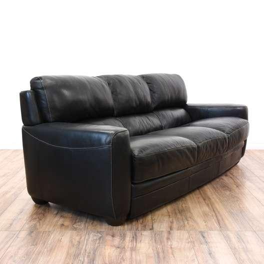 Outstanding Black Leather Sofitalia Cushion Sofa Loveseat Vintage Creativecarmelina Interior Chair Design Creativecarmelinacom