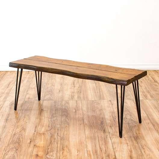 Live Edge Coffee Table W Hairpin Legs Loveseat Vintage