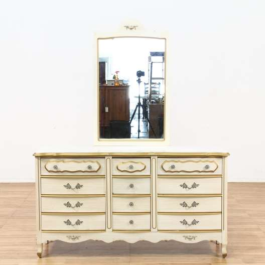 French Provincial Long Dresser W Mirror