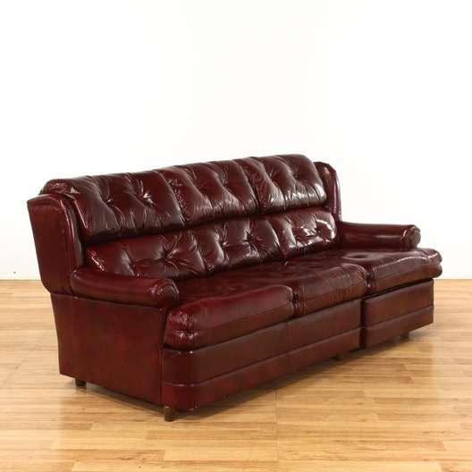 Vintage Red Vinyl Sofa Vintage Han Moore Tufted Red