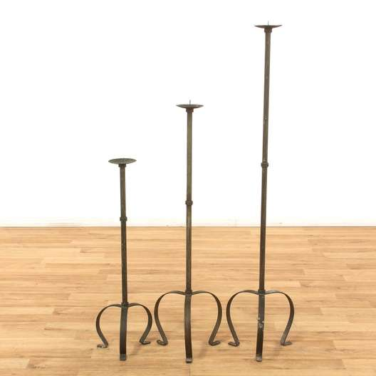 Set Of 3 Black Wrought Iron Floor Candle Holders Loveseat