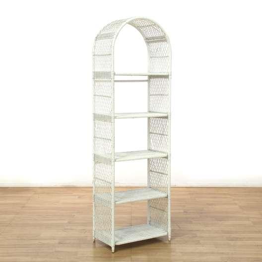 White Wicker Etagere Bookshelf Bookcase Loveseat Vintage