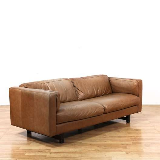 Strange Italian Leather Couch W Wood Frame Loveseat Vintage Pabps2019 Chair Design Images Pabps2019Com